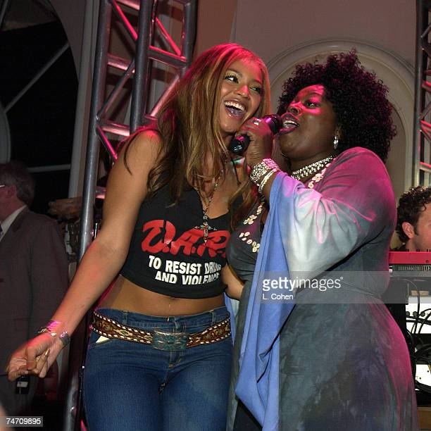 Beyonce Knowles of Destiny's Child and Angie Stone at the Beverly Hills Hotel in Beverly Hills California