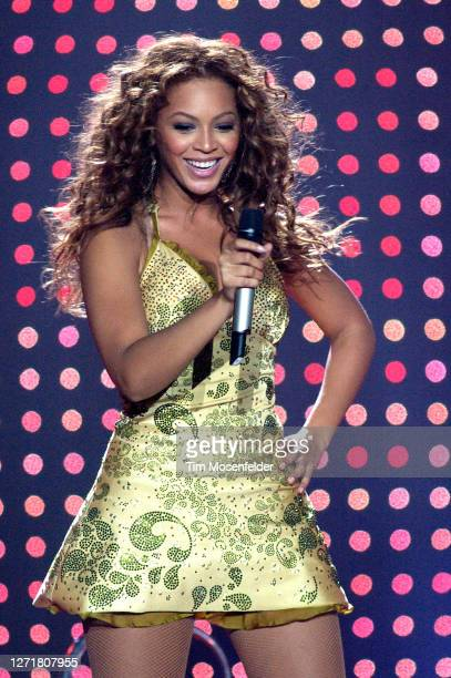 """Beyonce Knowles of Destiny's Child performs in support of the group's """"Fulfilled and Lovin' It"""" tour at Oakland Arena on September 3, 2005 in..."""