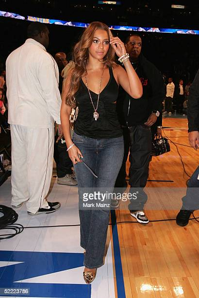 Beyonce Knowles of Destiny's Child walks off the court after the 2005 NBA All Star Game at the Pepsi Center on February 20 2005 in Denver Colorado
