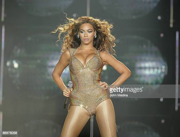 Beyonce Knowles performs at the ORACLE Arena on July 10 2009 in Oakland California