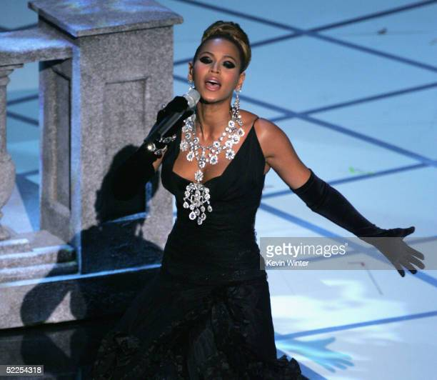 Beyonce Knowles performs on stage during the 77th Annual Academy Awards on February 27 2005 at the Kodak Theater in Hollywood California