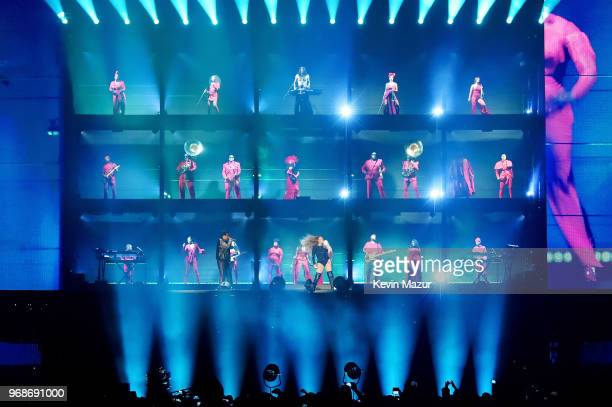 Beyonce Knowles performs on stage during the On the Run II tour opener at Principality Stadium on June 6 2018 in Cardiff Wales