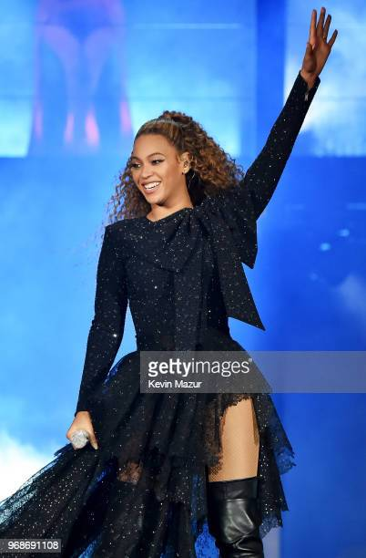 "Beyonce Knowles performs on stage during the ""On the Run II"" tour opener at Principality Stadium on June 6, 2018 in Cardiff, Wales."