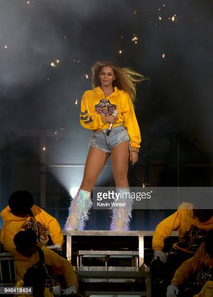 Beyonce Knowles performs onstage during 2018 Coachella Valley Music And Arts Festival Weekend 1 at the Empire Polo Field on April 14 2018 in Indio...