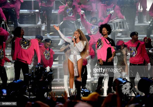 Beyonce Knowles performs onstage during the 2018 Coachella Valley Music And Arts Festival at the Empire Polo Field on April 21 2018 in Indio...