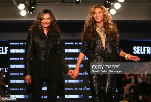 Beyonce Knowles takes the applause with her mother Tina Knowles following their House of Dereon Catwalk Show at Selfridges London shown as part of...