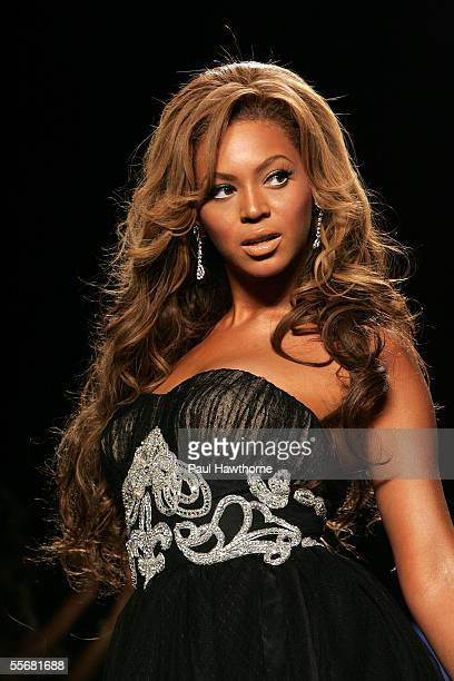Beyonce Knowles walks the runway at the Fashion for Relief fashion show with proceeds going to aid Hurricane Katrina victims during Olympus Fashion...
