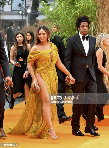 Beyonce KnowlesCarter and JayZ attend the European Premiere of Disney's The Lion King at Odeon Luxe Leicester Square on July 14 2019 in London England