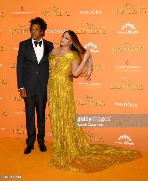 """Beyonce Knowles-Carter and Jay-Z attend the European Premiere of Disney's """"The Lion King"""" at Odeon Luxe Leicester Square on July 14, 2019 in London,..."""