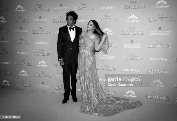 "Beyonce Knowles-Carter and Jay-Z attend the European Premiere of Disney's ""The Lion King"" at Odeon Luxe Leicester Square on July 14, 2019 in London,..."