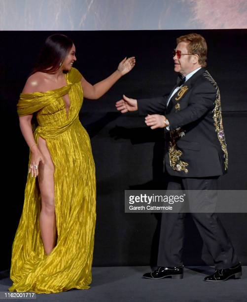 """Beyonce Knowles-Carter and Sir Elton John attend the European Premiere of Disney's """"The Lion King"""" at Odeon Luxe Leicester Square on July 14, 2019 in..."""