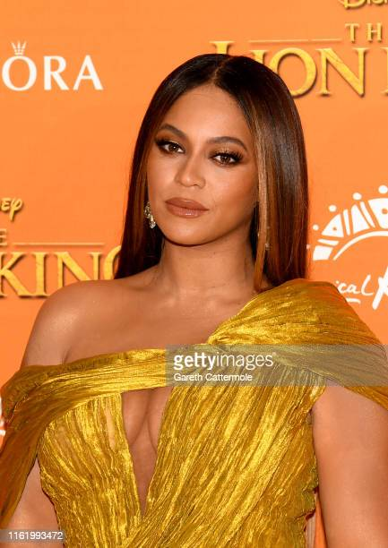 """Beyonce Knowles-Carter attends the European Premiere of Disney's """"The Lion King"""" at Odeon Luxe Leicester Square on July 14, 2019 in London, England."""