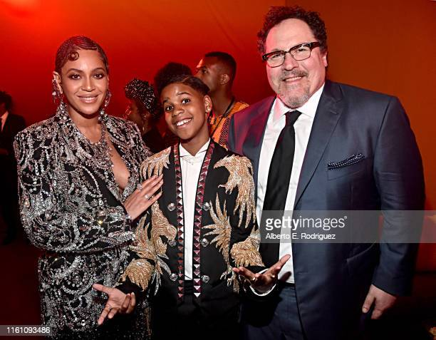 Beyonce KnowlesCarter JD McCrary and Director/producer Jon Favreau attend the World Premiere of Disney's THE LION KING at the Dolby Theatre on July...