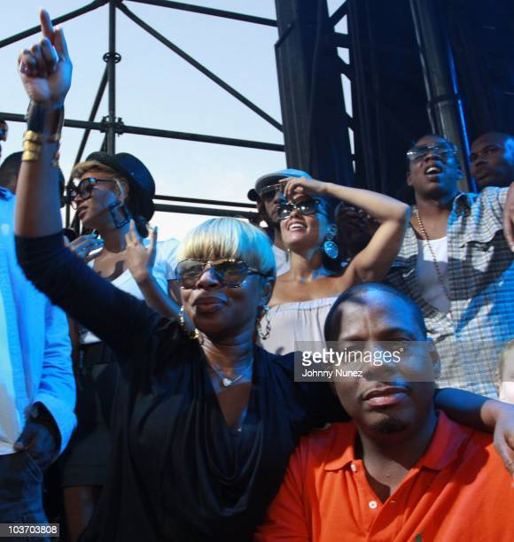Beyonce Mary J Blige Swizz Beatz Alicia Keys Kendu Issas and JayZ attend the 7th Annual Rock The Bells festival on Governors Island on August 28 2010...