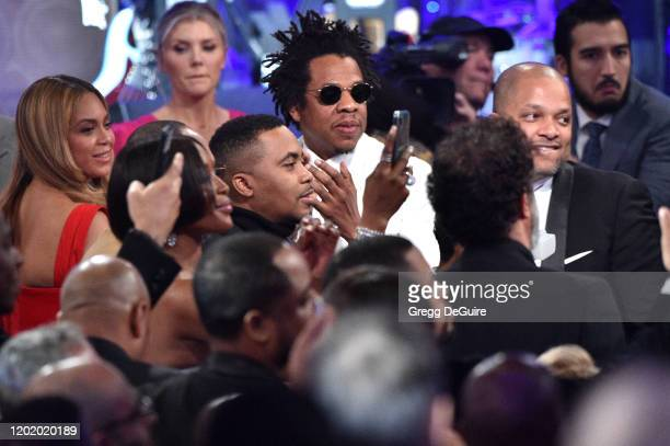 "Beyonce, Nas and Jay-Z attend the Pre-GRAMMY Gala and GRAMMY Salute to Industry Icons Honoring Sean ""Diddy"" Combs on January 25, 2020 in Beverly..."