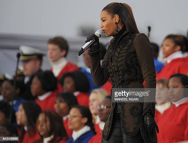 Beyonce performs at the We are One Inaugural Celebration at the Lincoln Memorial January 18 2009 in Washington DC A galaxy of stars including Bruce...