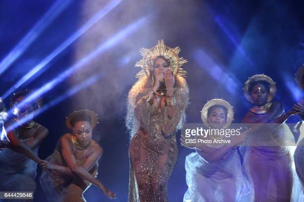 Beyonce performs during THE 59TH ANNUAL GRAMMY AWARDS broadcast live from the STAPLES Center in Los Angeles Sunday Feb 12 on the CBS Television...