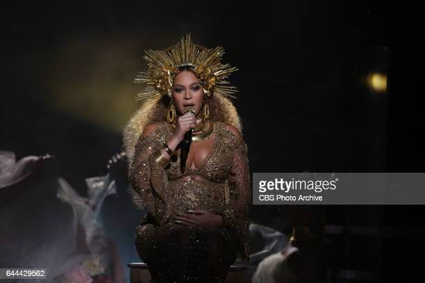 Beyonce performs during THE 59TH ANNUAL GRAMMY AWARDS, broadcast live from the STAPLES Center in Los Angeles, Sunday, Feb. 12 on the CBS Television...