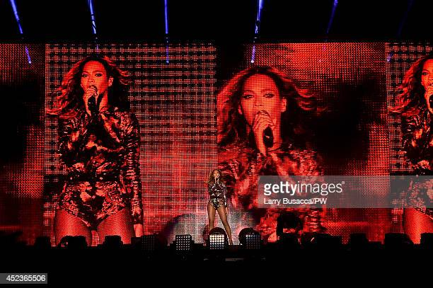 "Beyonce performs during the ""On The Run Tour: Beyonce And Jay-Z"" at Minute Maid Park on July 18, 2014 in Houston, Texas."