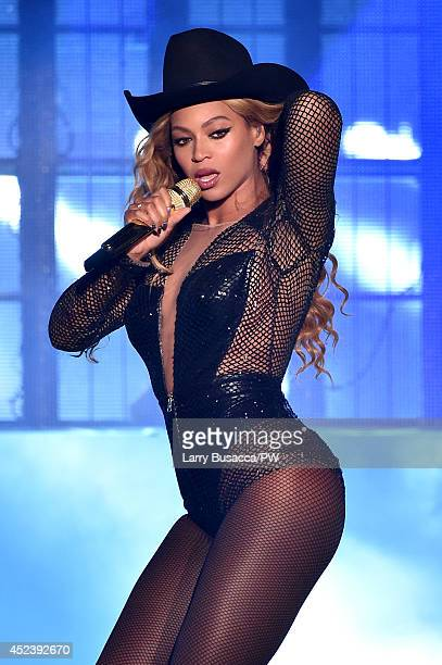 Beyonce performs during the On The Run Tour Beyonce And JayZ at Minute Maid Park on July 18 2014 in Houston Texas