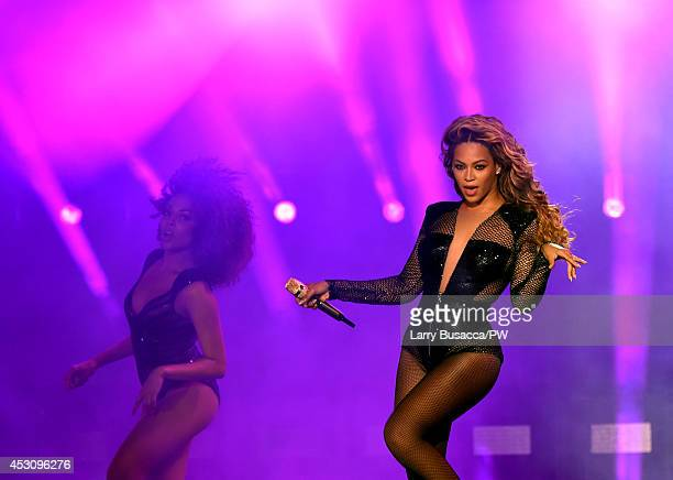 Beyonce performs during the 'On The Run Tour Beyonce And JayZ' at the Rose Bowl on August 2 2014 in Pasadena California