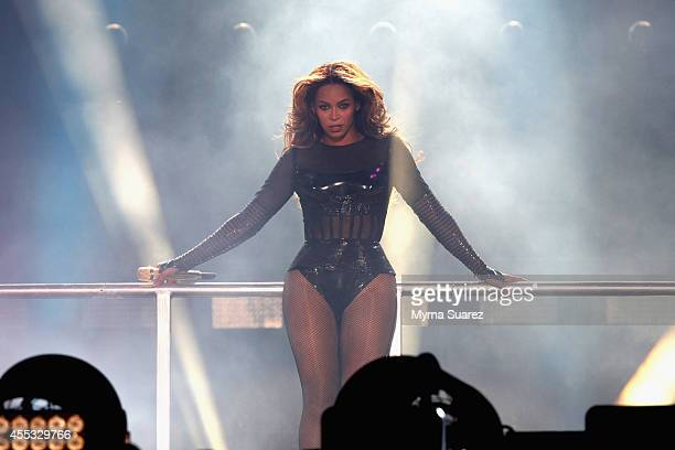 Beyonce performs during the On The Run Tour Beyonce And JayZ at the Stade de France on September 12 2014 in Paris France