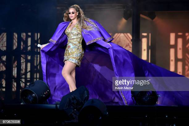 Beyonce performs in purple on stage during the On the Run II Tour with JayZ at Hampden Park on June 9 2018 in Glasgow Scotland