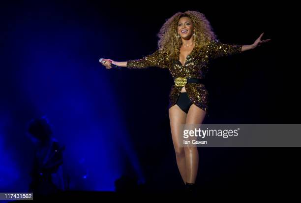 Beyonce performs live on the pyramid stage during the Glastonbury Festival at Worthy Farm Pilton on June 26 2011 in Glastonbury England The festival...