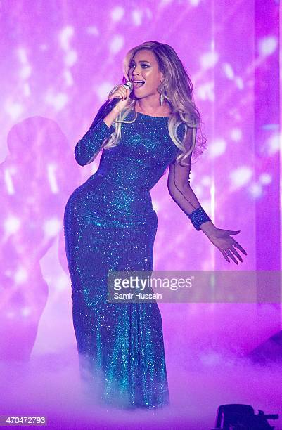 Beyonce performs live onstage at The BRIT Awards 2014 at The O2 Arena on February 19, 2014 in London, England.