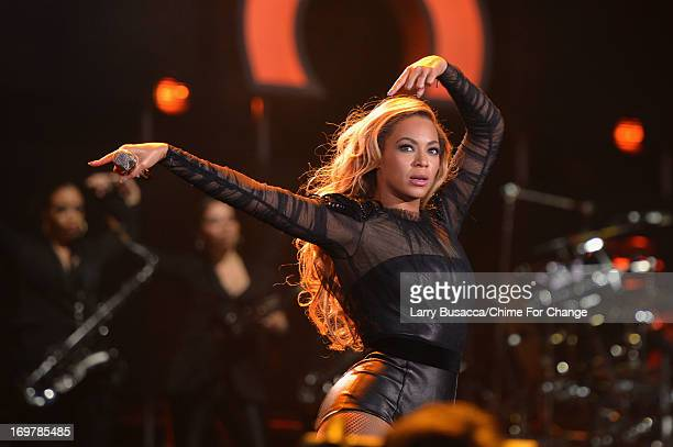 Beyonce performs on stage at the 'Chime For Change The Sound Of Change Live' Concert at Twickenham Stadium on June 1 2013 in London England Chime For...