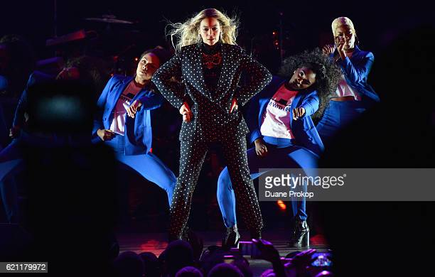 Beyonce performs on stage during a Get Out The Vote concert in support of Hillary Clinton at Wolstein Center in Cleveland Ohio on November 4 2016 in...