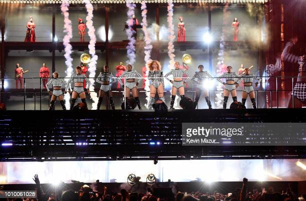 Beyonce performs on stage during the 'On the Run II' tour at MetLife Stadium on August 2 2018 in East Rutherford New Jersey