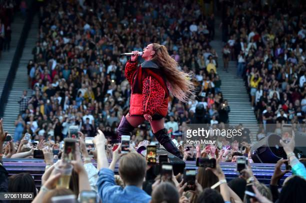 Beyonce performs on stage during the 'On the Run II' Tour with JayZ at Hampden Park on June 9 2018 in Glasgow Scotland