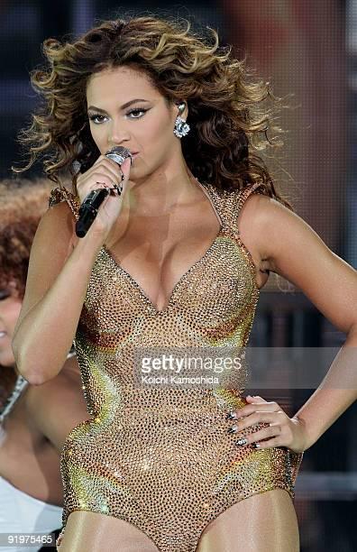 Beyonce performs onstage at Saitama Super Arena on October 18 2009 in Saitama Japan