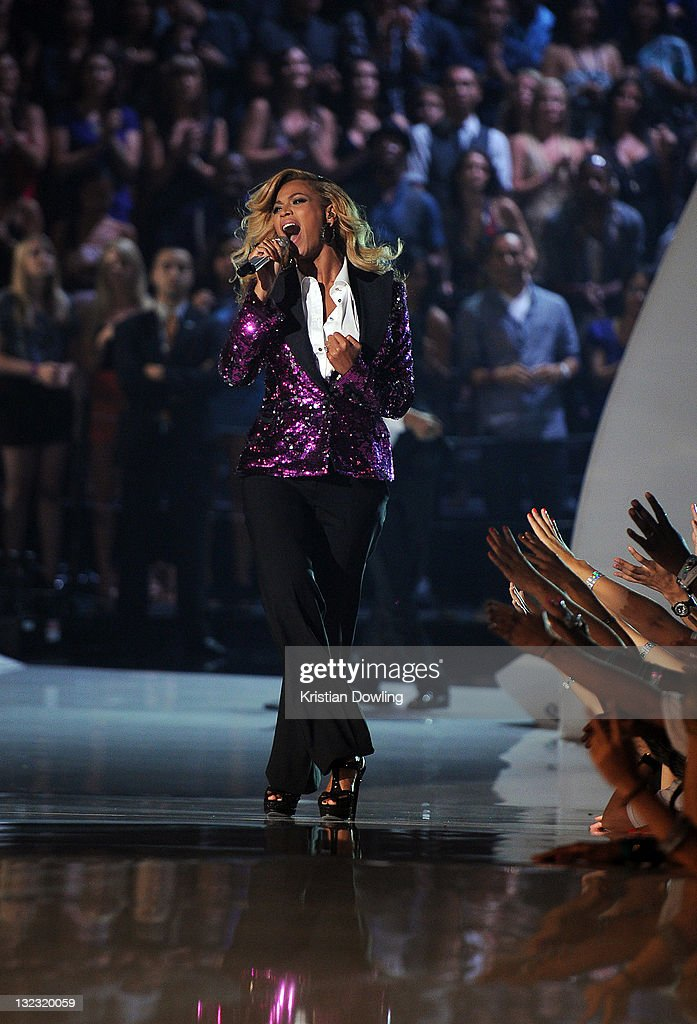 Beyonce performs onstage at the 2011 MTV Video Music Awards at the Nokia Theatre L.A. Live on August 28, 2011 in Los Angeles, CA.