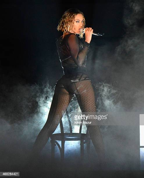 Beyonce performs onstage during the 56th GRAMMY Awards at Staples Center on January 26 2014 in Los Angeles California