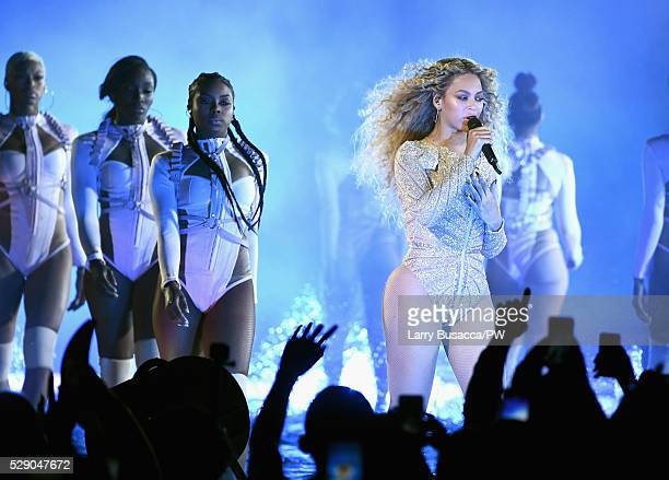 Beyonce performs onstage during 'The Formation World Tour' at NRG Stadium on May 7 2016 in Houston Texas Beyonce wears a custom Charbel Zoe bodysuit
