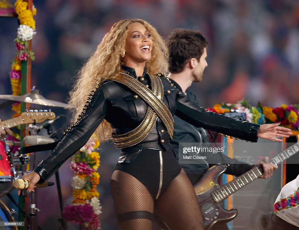 Beyonce (R) performs onstage during the Pepsi Super Bowl 50 Halftime Show at Levi's Stadium on February 7, 2016 in Santa Clara, California.