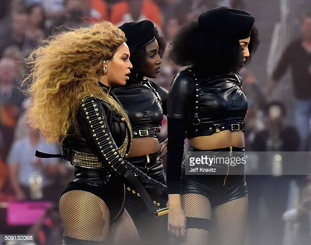 Beyonce performs onstage during the Pepsi Super Bowl 50 Halftime Show at Levi's Stadium on February 7 2016 in Santa Clara California