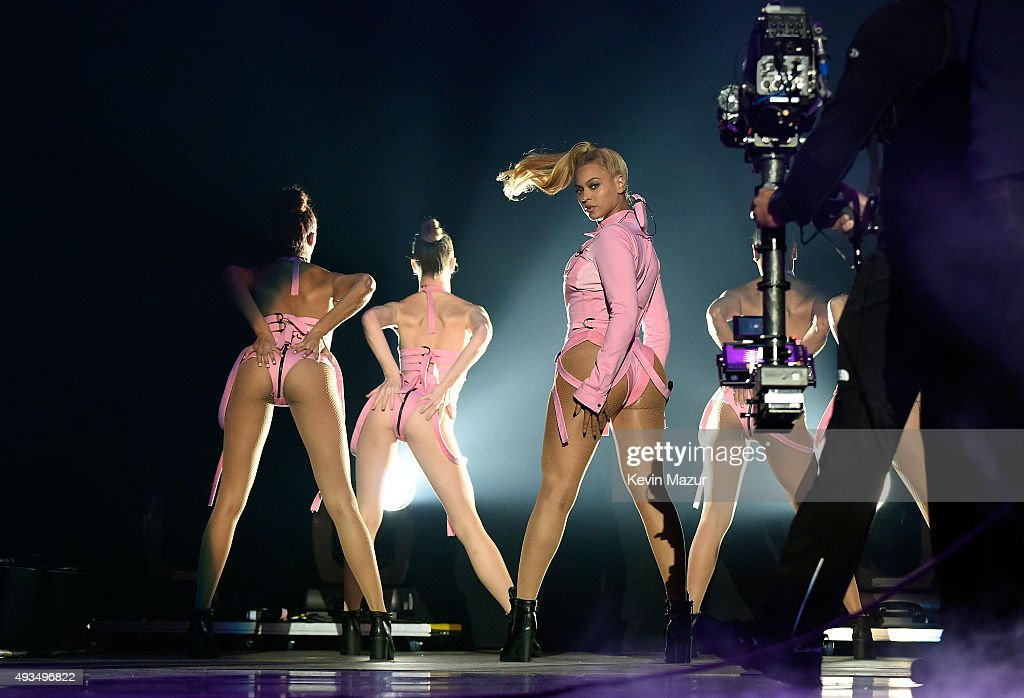 Beyonce (C) performs onstage during