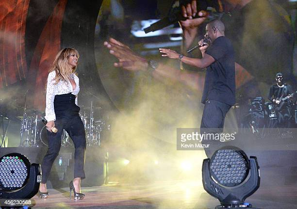 Beyonce performs onstage with Jay-Z at the 2014 Global Citizen Festival to end extreme poverty by 2030 at Central Park on September 27, 2014 in New...