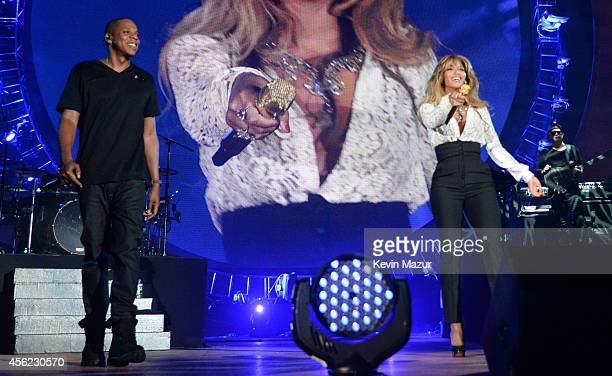 Beyonce performs onstage with JayZ at the 2014 Global Citizen Festival to end extreme poverty by 2030 at Central Park on September 27 2014 in New...