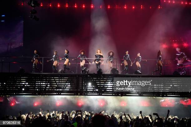 Beyonce performs with dancers on stage during the 'On the Run II' Tour with JayZ at Hampden Park on June 9 2018 in Glasgow Scotland