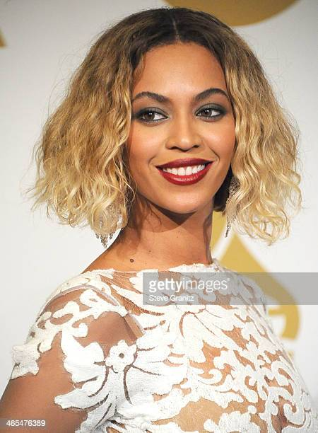 Beyonce poses at the 56th GRAMMY Awards on January 26 2014 in Los Angeles California