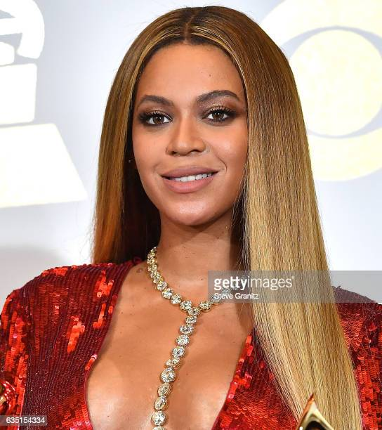 Beyonce poses at the 59th GRAMMY Awards on February 12 2017 in Los Angeles California