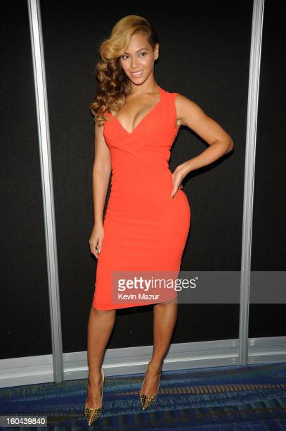 Beyonce poses backstage at the Pepsi Super Bowl XLVII Halftime Show Press Conference at the Ernest N Morial Convention Center on January 31 2013 in...