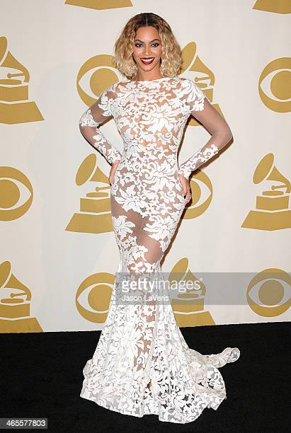 Beyonce poses in the press room at the 56th GRAMMY Awards at Staples Center on January 26 2014 in Los Angeles California