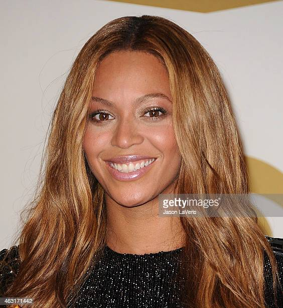 Beyonce poses in the press room at the 57th GRAMMY Awards at Staples Center on February 8 2015 in Los Angeles California