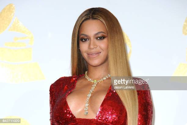 Beyonce poses in the press room at the 59th GRAMMY Awards at Staples Center on February 12 2017 in Los Angeles California