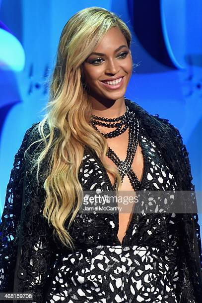 Beyonce poses onstage at the Tidal launch event #TIDALforALL at Skylight at Moynihan Station on March 30 2015 in New York City